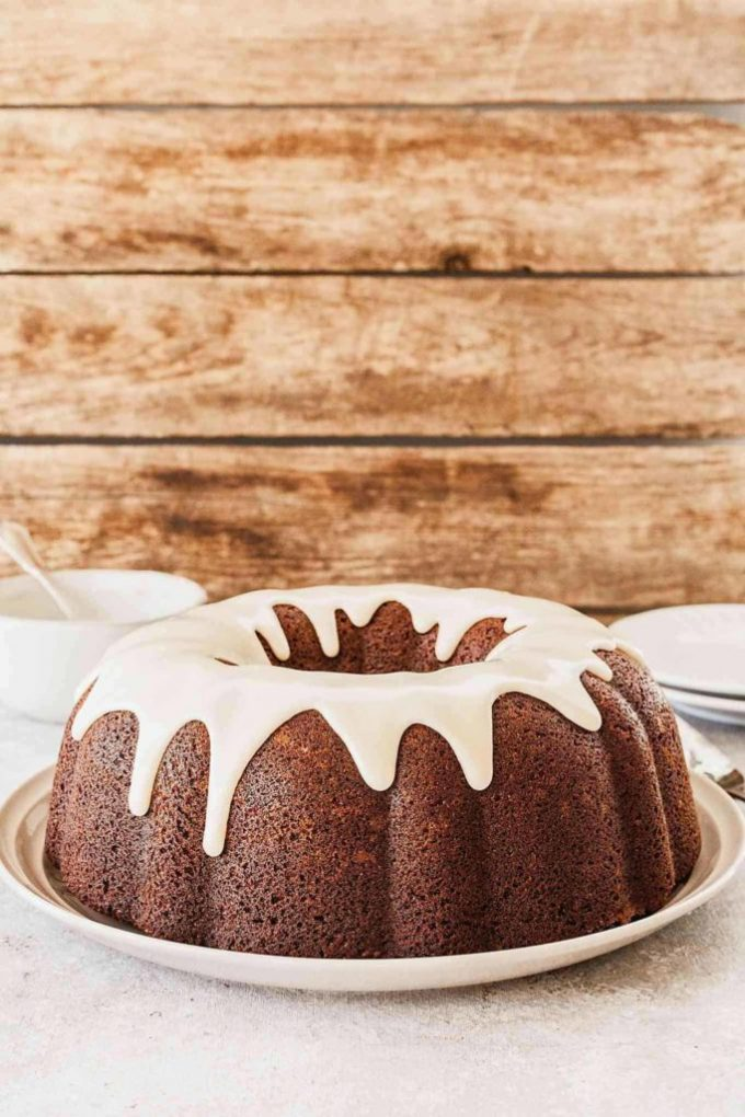 bundt cake with royal icing drips