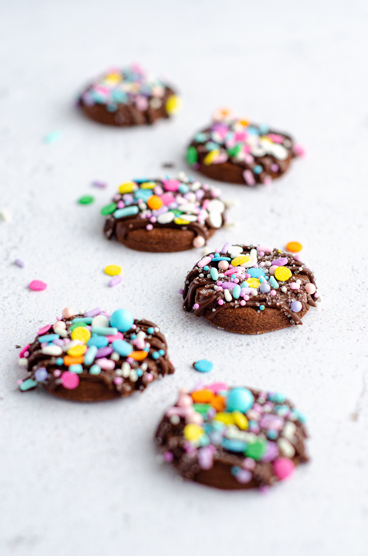 Soft chocolate sugar cookies that require no dough chilling and are perfect for shaping with cookie cutters. Crisp edges, soft centers, and plenty of room for decorative icing and sprinkles.