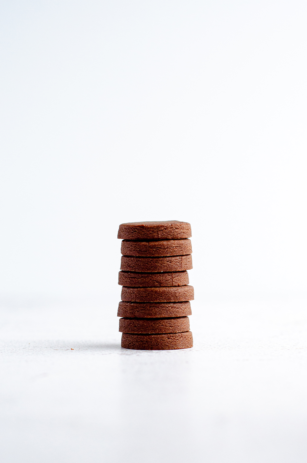 stack of chocolate cut-out sugar cookies