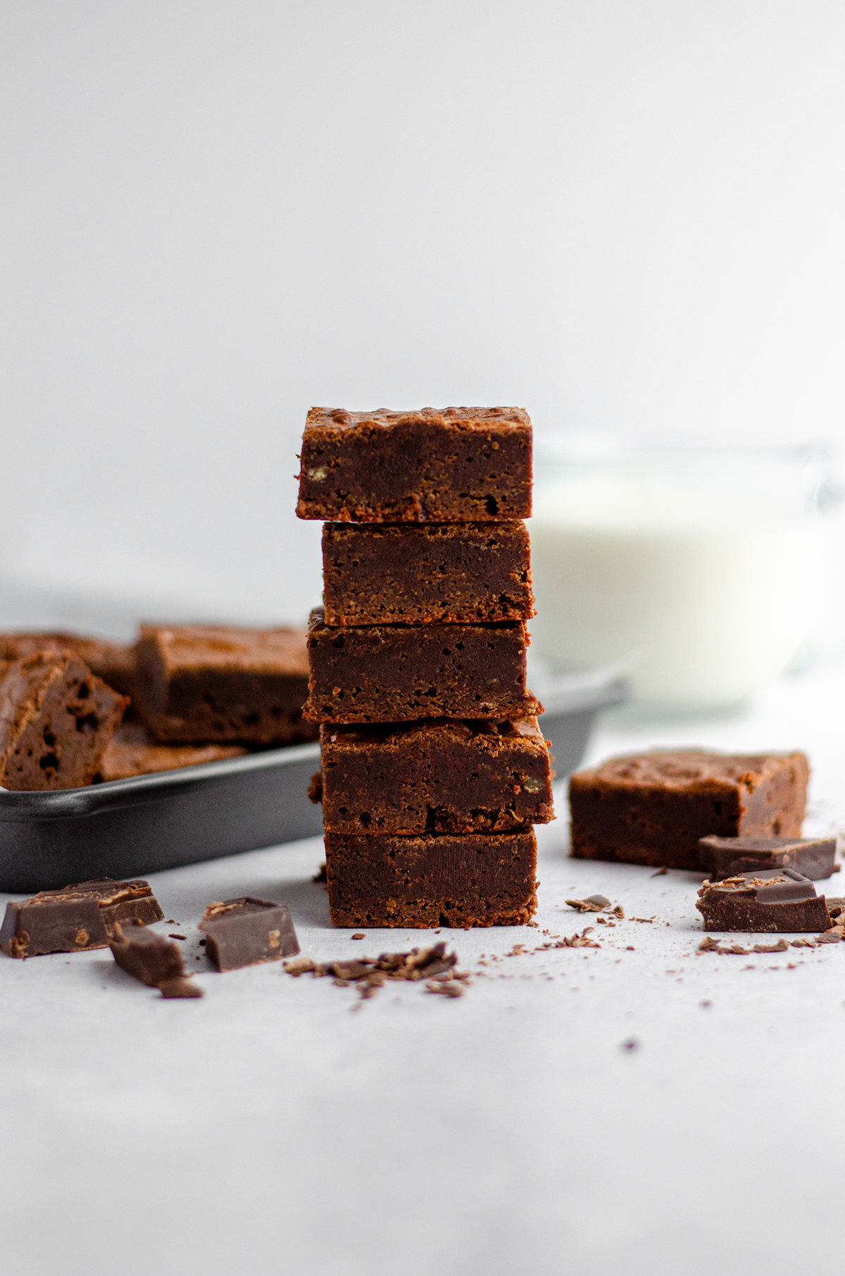 stack of homemade fudgy brownies