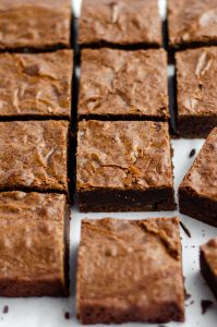 close-up of brownies ready to serve