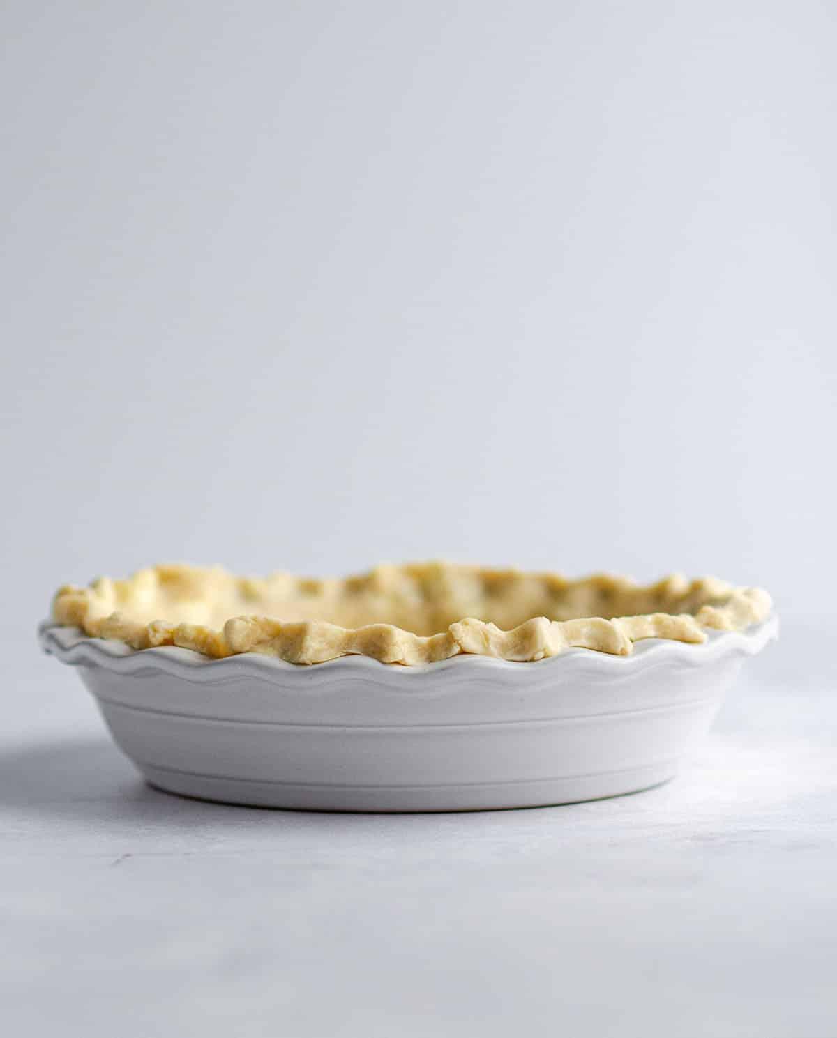 homemade pie crust in a pie plate