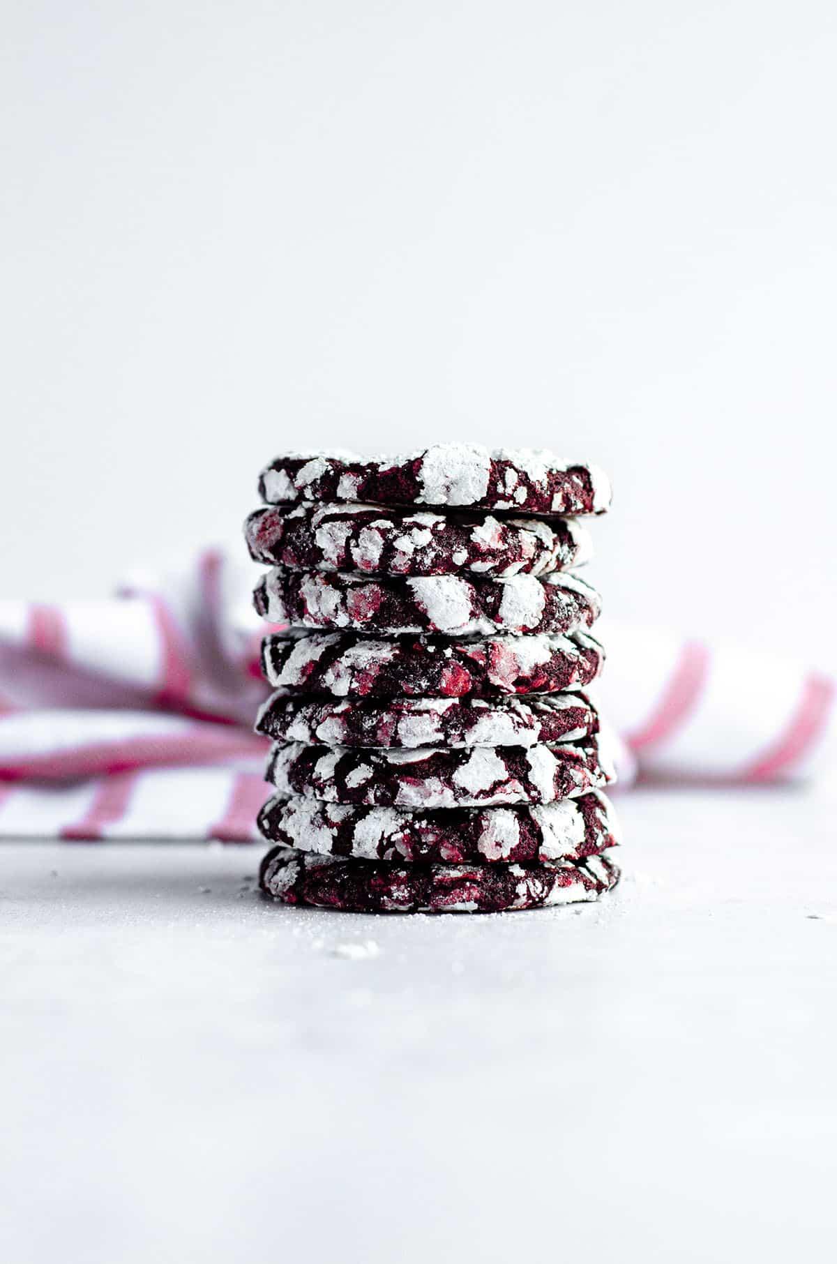 stack of red velvet crinkle cookies
