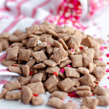 Red Velvet Puppy Chow: Classic puppy chow cereal snack mix gets a red velvet makeover, flavored with white chocolate and red velvet cake mix.
