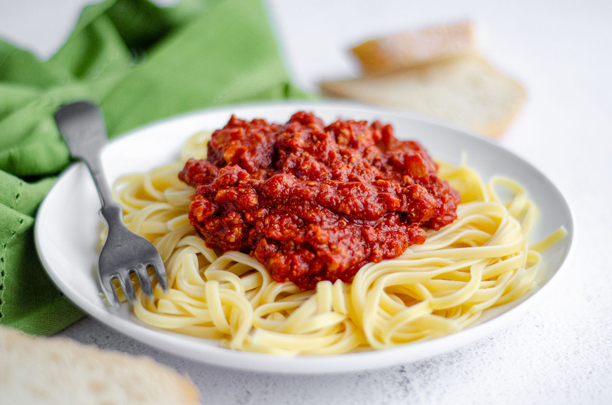plate of spaghetti with homemade meat sauce