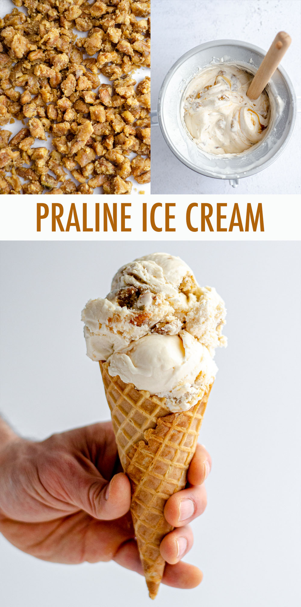 An easy homemade vanilla ice cream base swirled with salted caramel sauce and crunchy pecan praline pieces.