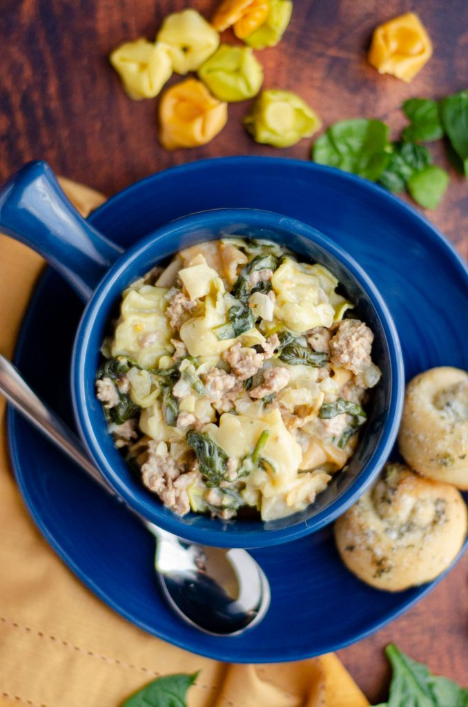 Sausage Tortellini Soup: This easy Italian sausage tortellini soup is lightly creamy, full of flavor, and ready in about half an hour.