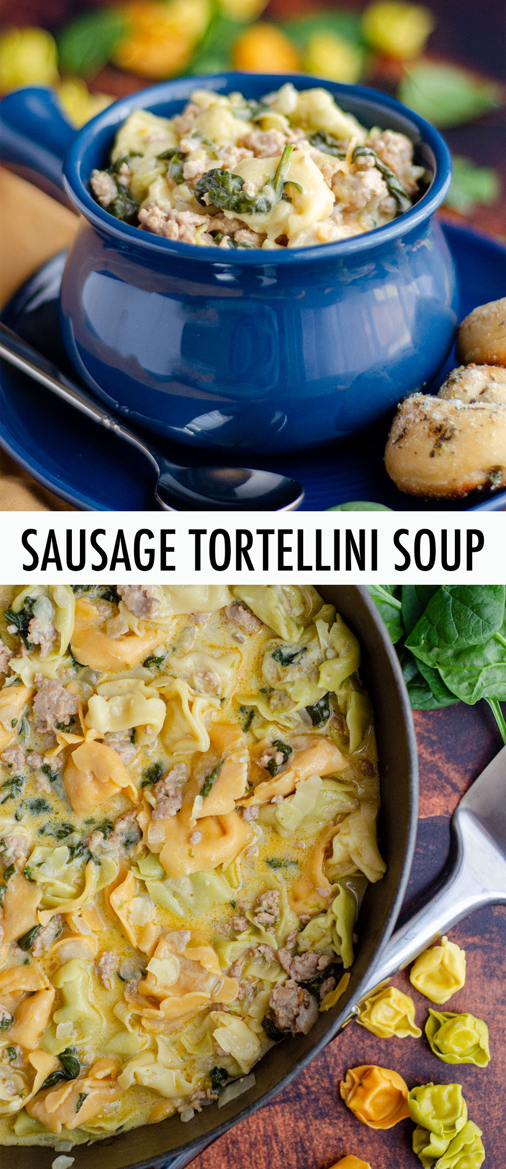 This easy Italian sausage tortellini soup is lightly creamy, full of flavor, and ready in about half an hour.