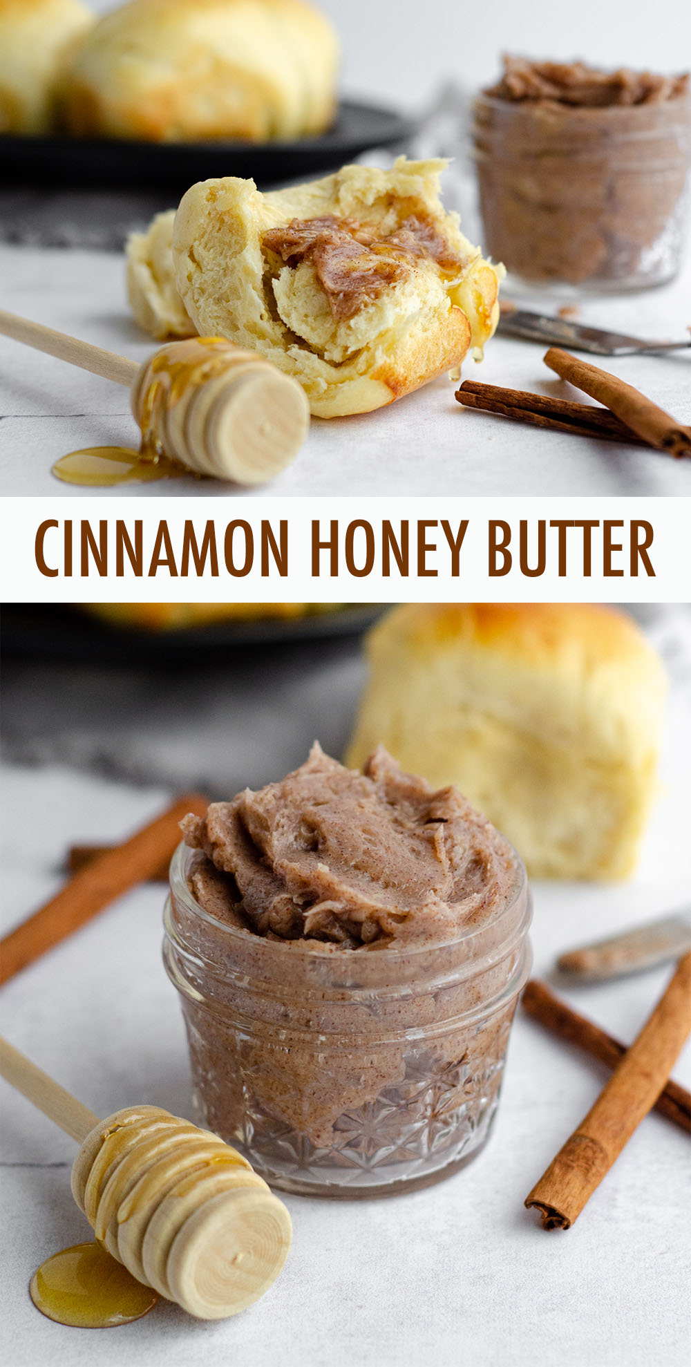 Making your own cinnamon honey butter is as simple as six ingredients. Perfect for topping yeast breads, sweet breads, and sweet potatoes, and could even be called a Texas Roadhouse copycat.