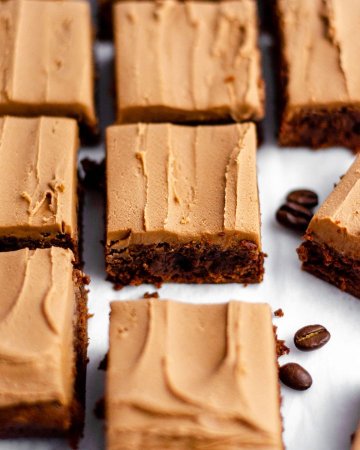 Coffee Brownies with Mocha Frosting: Rich scratch brownies flavored with concentrated coffee and topped with a creamy mocha frosting.