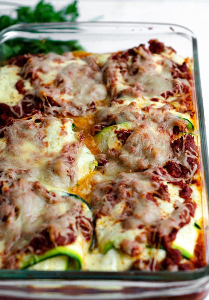 zucchini ravioli in a baking pan