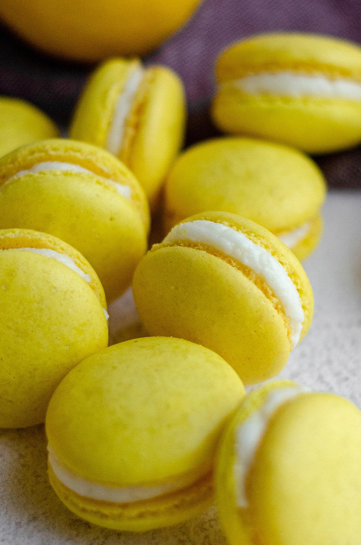 lemon macarons filled with lemon buttercream