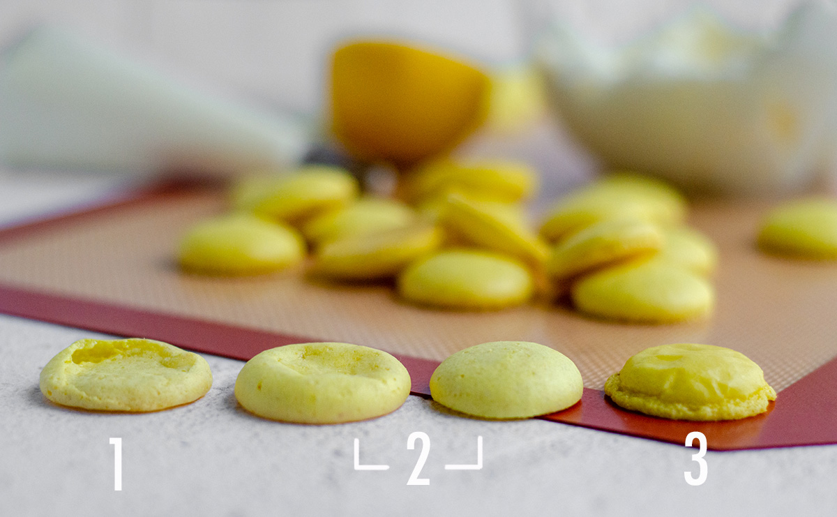 comparing failed lemon macarons side by side