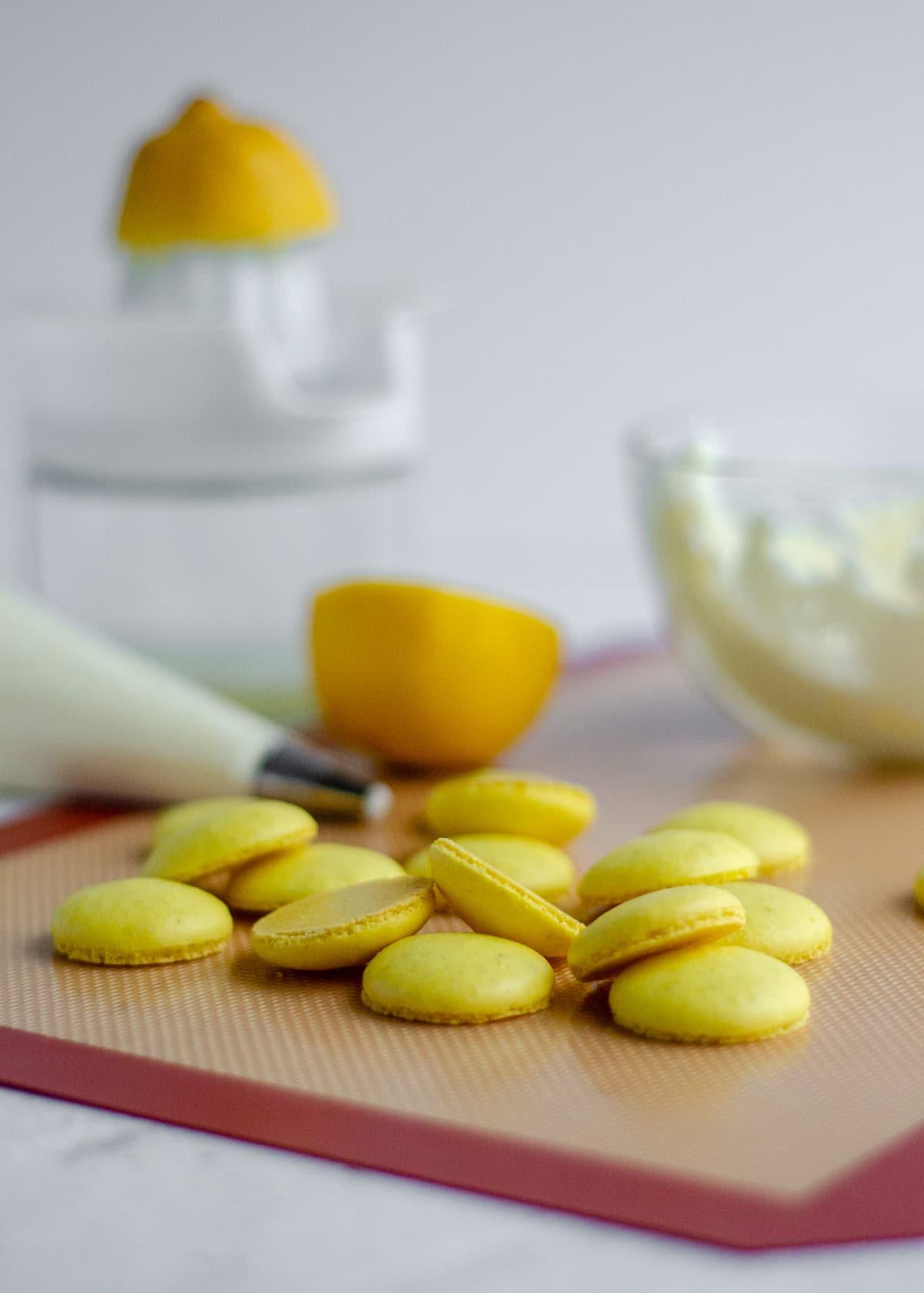 lemon macarons ready to assemble