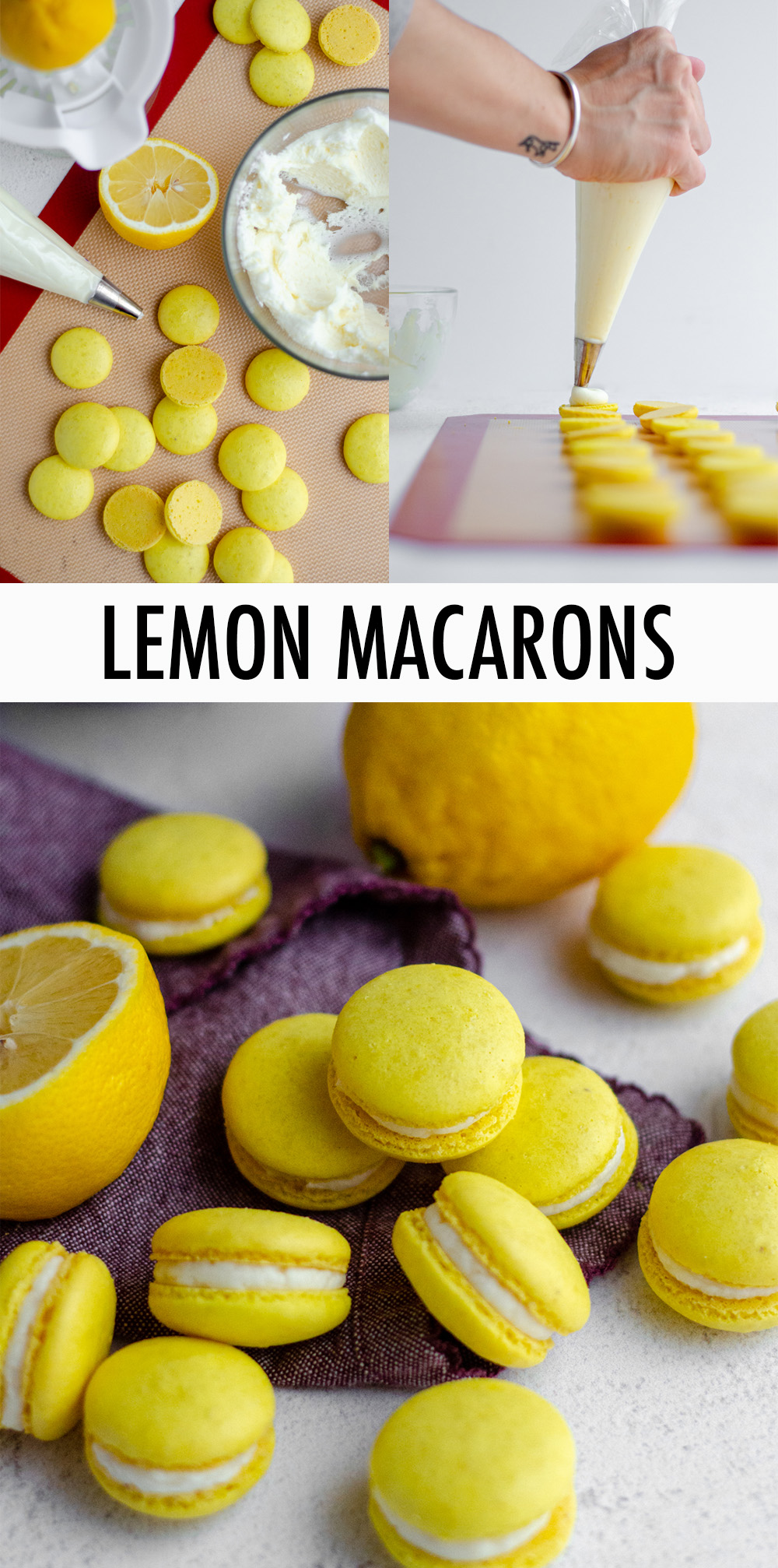 These sweet and tart lemon macarons are filled with a tangy lemon buttercream. The lemon French macarons feature actual lemon zest as well as lemon extract to bring all the flavor without sacrificing that light and airy macaron texture.
