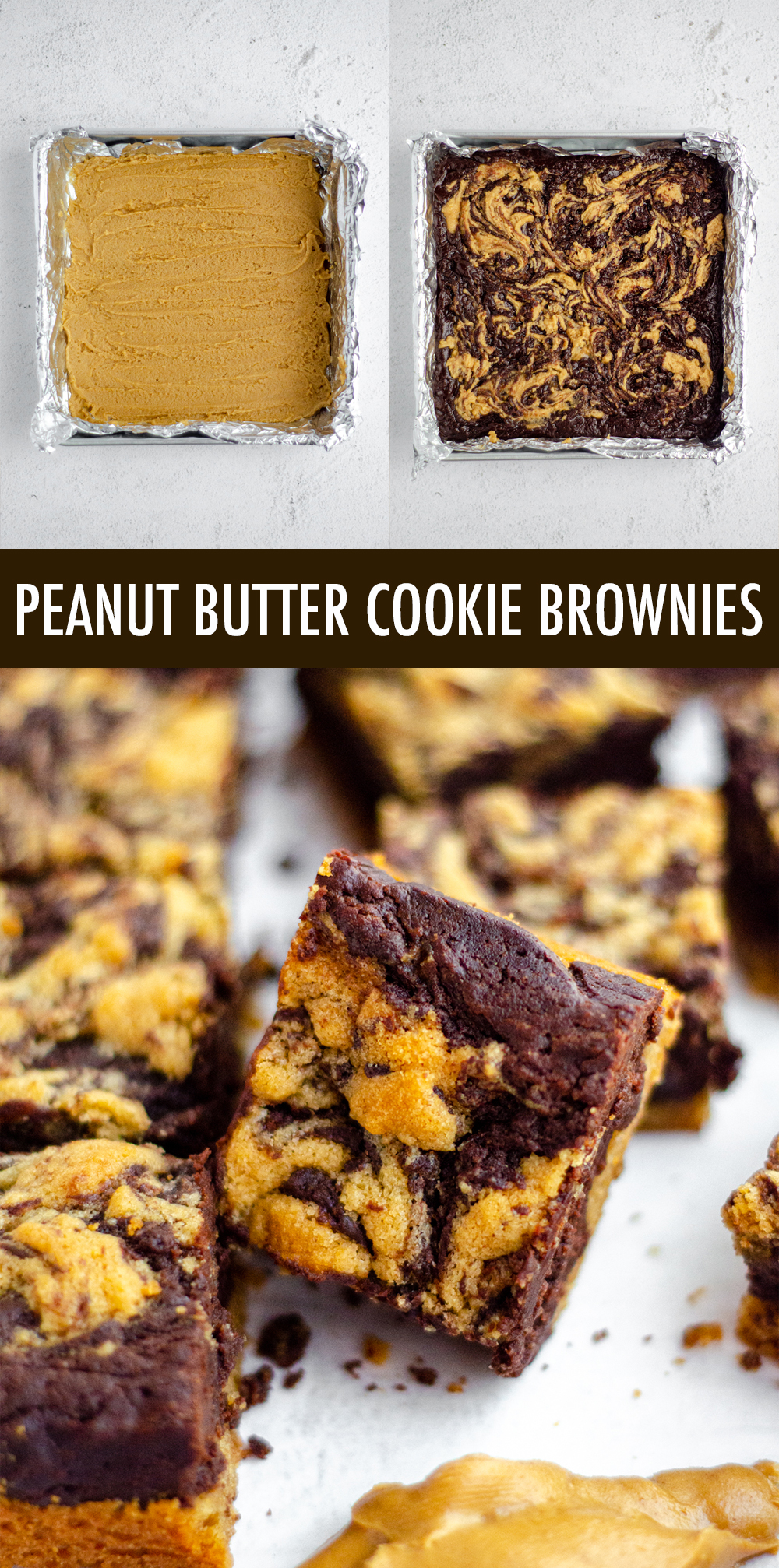 Soft and chewy brownies sit atop a peanut butter cookie crust and get swirled with peanut butter cookie batter to create peanut butter brownies unlike any other!
