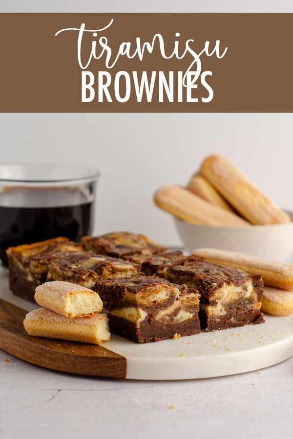 These tiramisu brownies are made with a scratch brownie base, a middle layer of coffee-soaked Ladyfingers, and a top layer of sweetened mascarpone cheese.