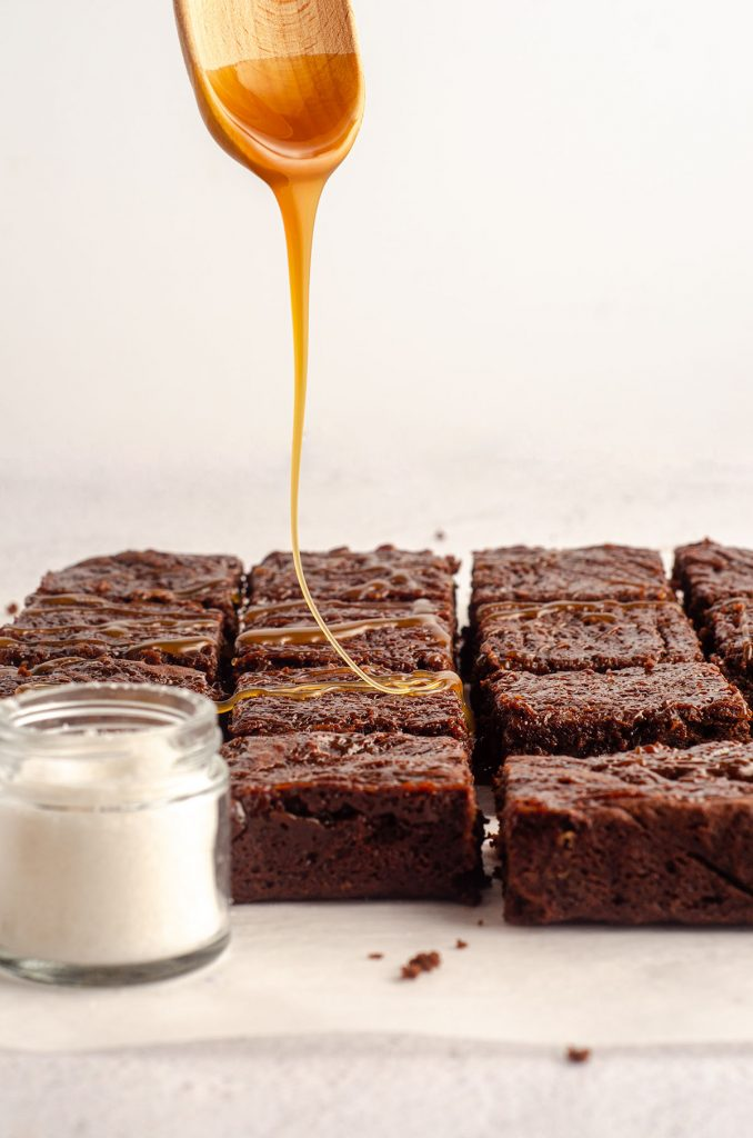 Salted Caramel Brownies: Fudgy brownies made from scratch with salted caramel sauce swirled right into the brownie batter. Drizzle with more salted caramel sauce and sprinkle with flaky sea salt for a perfectly sweet and salty treat.