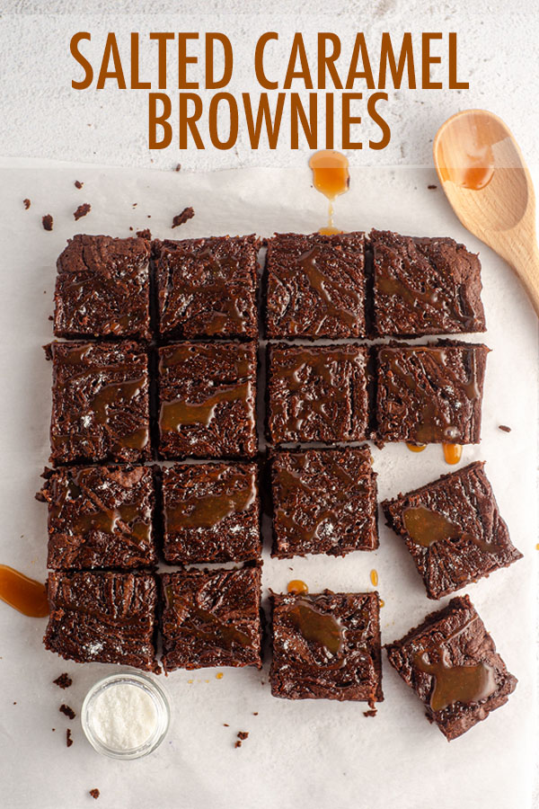 Fudgy brownies made from scratch with salted caramel sauce swirled right into the brownie batter. Drizzle with more salted caramel sauce and sprinkle with flaky sea salt for a perfectly sweet and salty treat.