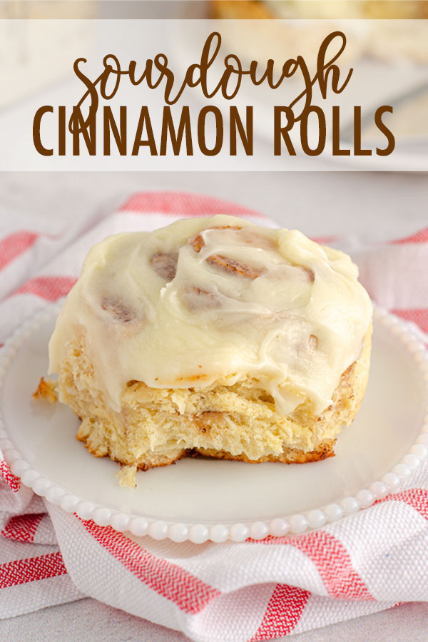 Learn how to make cinnamon rolls with sourdough starter-- simple, small batch cinnamon rolls made without yeast, filled with sweet cinnamon filling, and topped with an easy cream cheese frosting.