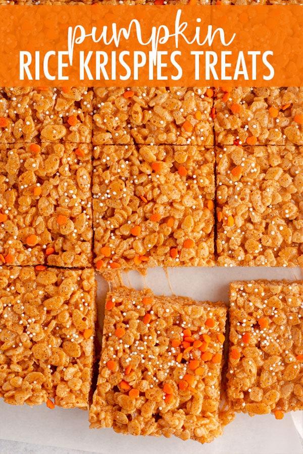 Soft and crunchy pumpkin Rice Krispies treats make an easy, no-bake fall snack!