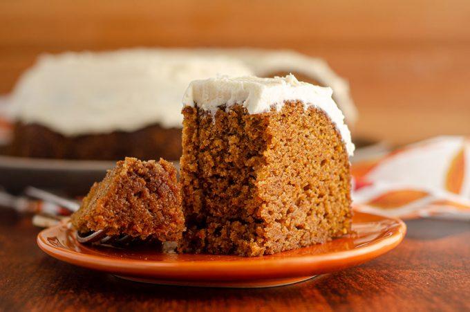Pumpkin Bundt Cake: Moist, spiced bundt cake made with real pumpkin and covered in a decadent brown butter buttercream.