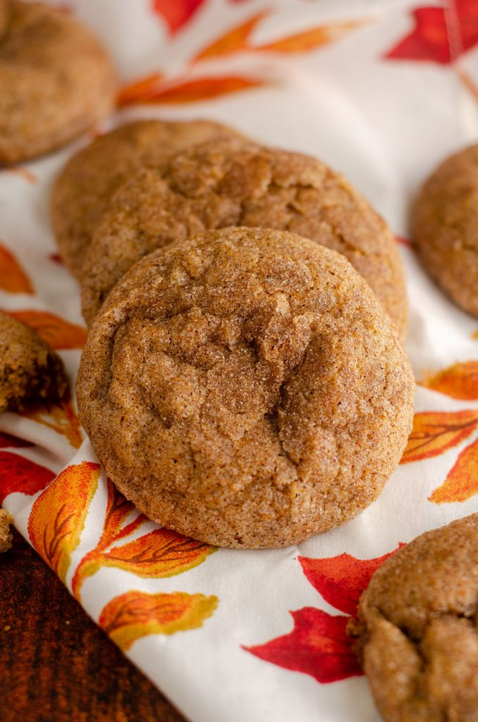 Pumpkin Spice Cookies: These eggless chewy pumpkin spice cookies are like a pumpkin snickerdoodle, coated in a spiced cinnamon sugar with a perfectly soft and chewy interior bursting with pumpkin flavor.