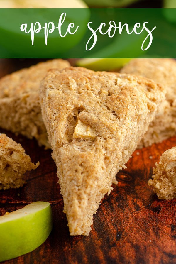 Tender apple cinnamon scones, filled with crisp apple chunks and baked to golden brown perfection.