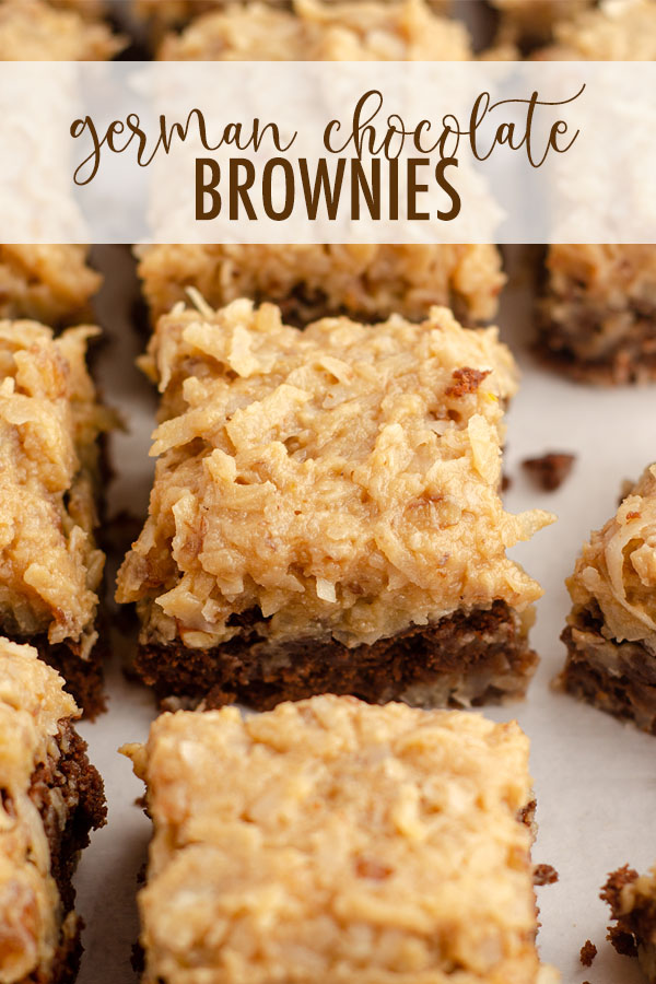 My classic go-to scratch brownie base gets topped with an ultra creamy coconut pecan frosting to turn them into indulgent German chocolate brownies.