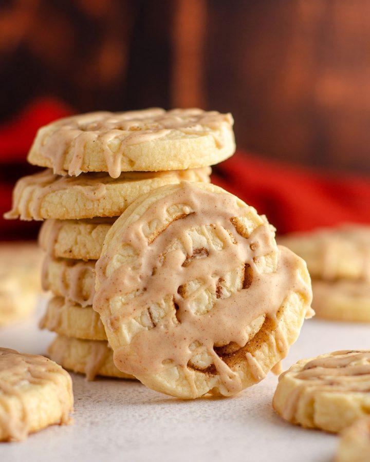 stack of cinnamon pinwheel cookies