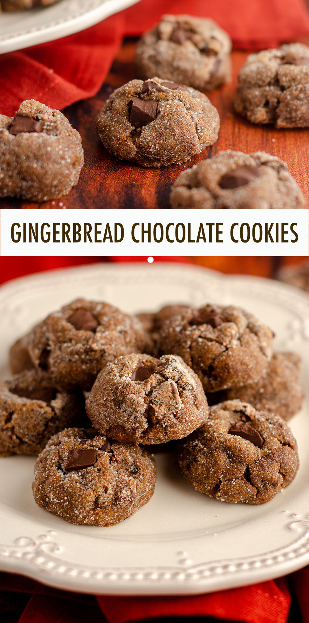 Spicy gingerbread chocolate cookies filled with chunks of chocolate and rolled in a crunchy sugar coating.