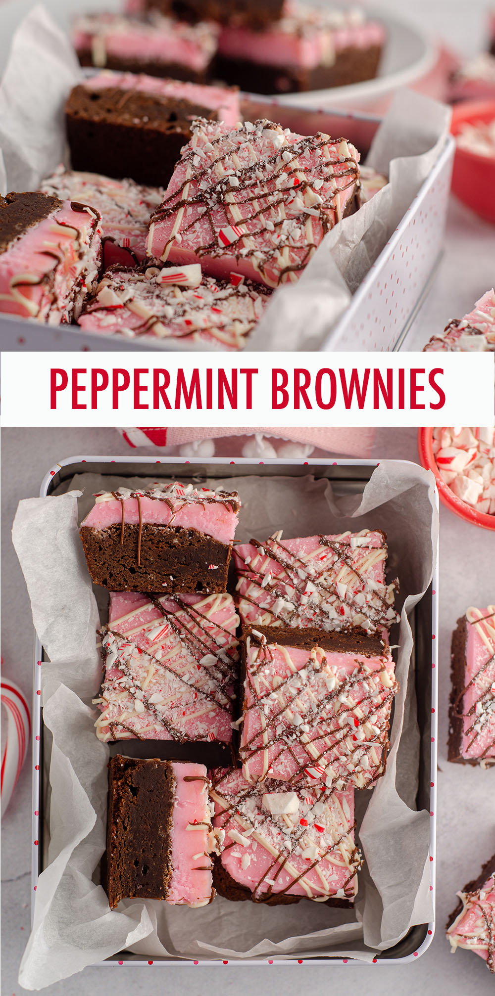 These peppermint brownies are made from a fudgy scratch brownie base and topped with a creamy peppermint buttercream. Top them with drizzled chocolate and crushed candy canes for a festive holiday treat!