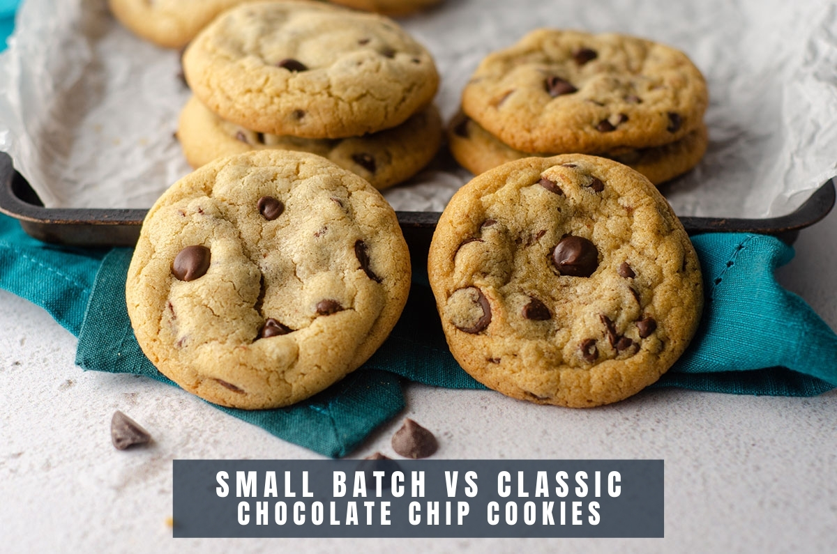 small batch chocolate chip cookie vs classic chocolate chip cookie to compare visually