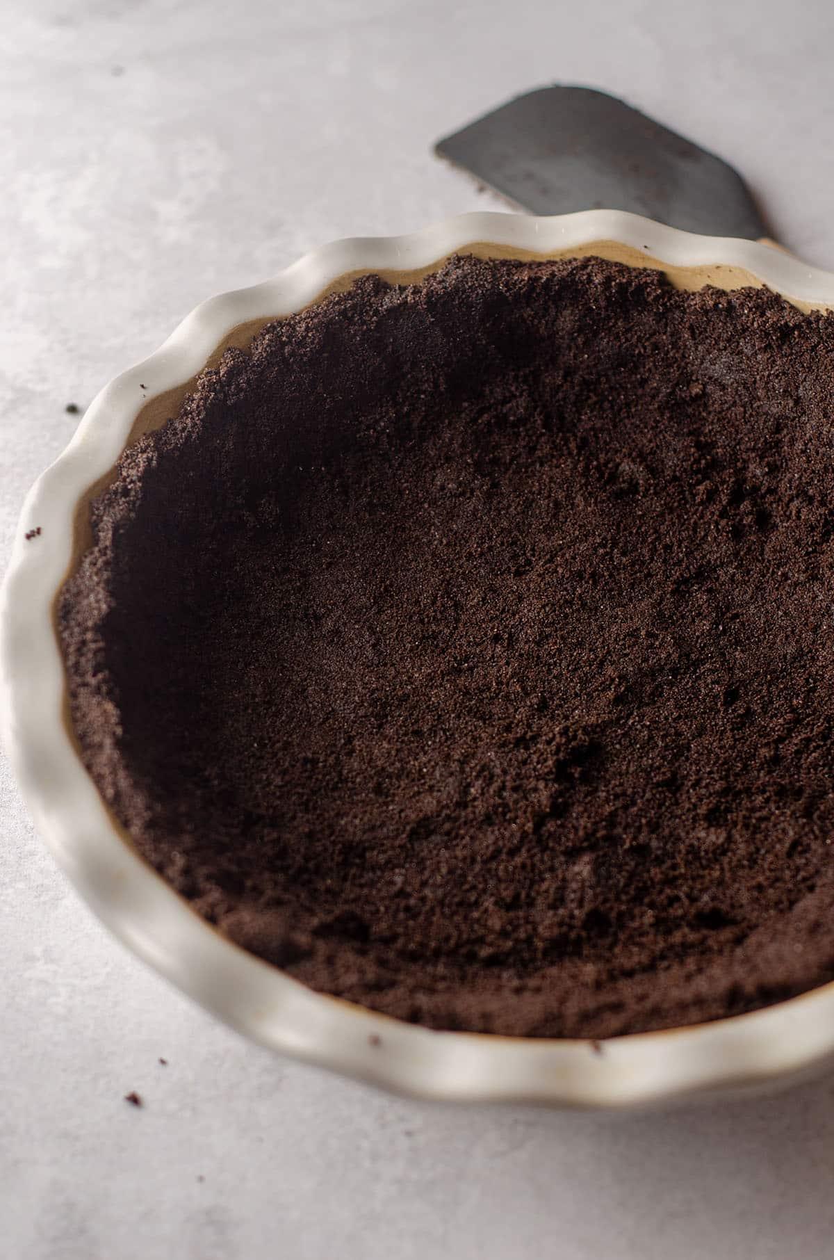 oreo pie crust in a pie plate