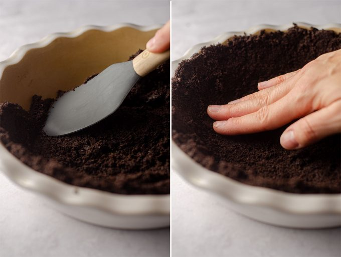 hands pressing an oreo pie crust into a pie plate