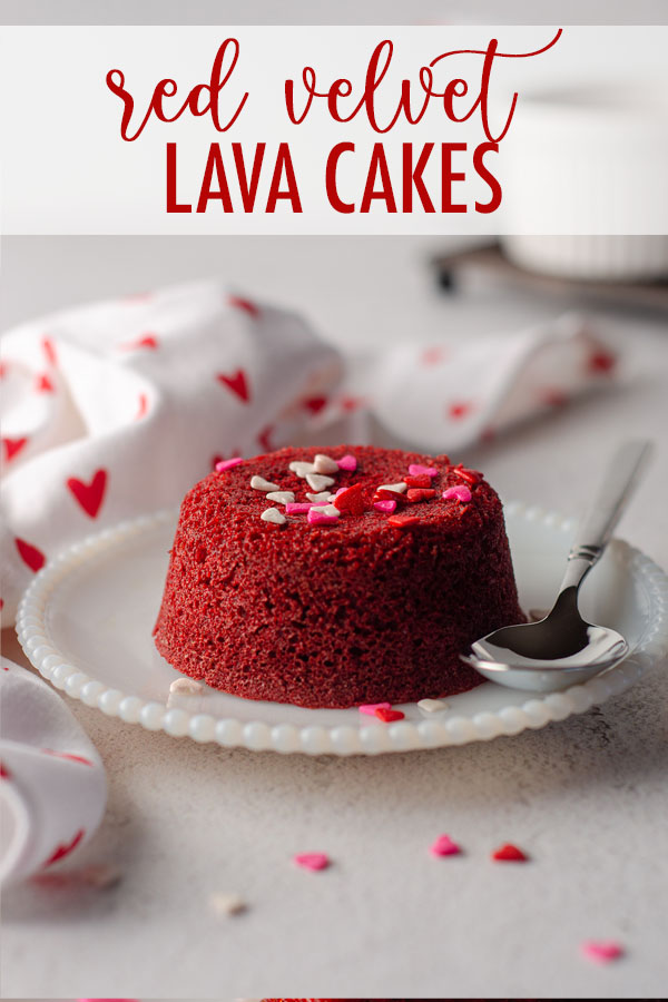 Molten lava cakes made easily from red velvet cake mix are perfect for your Valentine's Day dessert. Recipe makes 4 cakes in ramekins or 6 cakes in a cupcake pan.