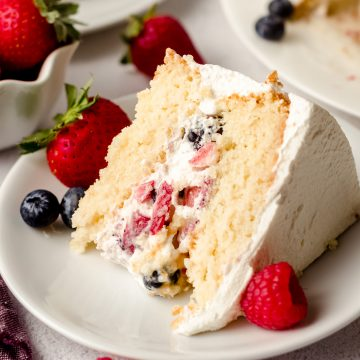 slice of berry cake on a white plate