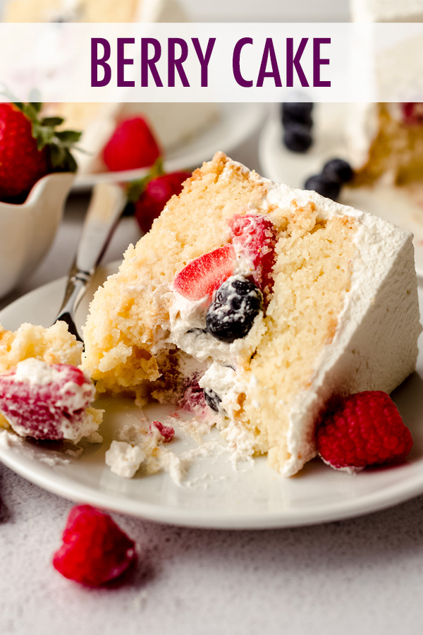 Simple white cake layers filled with a whipped cream and fresh berry filling and soaked in a tres leches syrup.