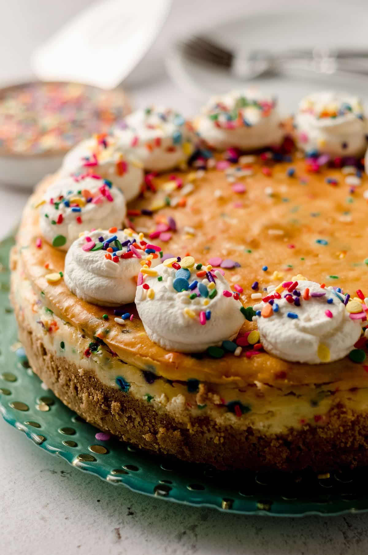 funfetti cheesecake on a plate