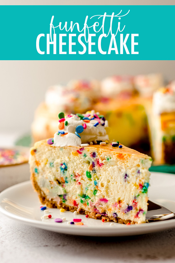 Traditional cheesecake gets a funfetti makeover with lots of sprinkles inside and out. Plenty of tips, tricks, and photos to insure you have a perfect and beautiful rainbow-filled cheesecake every time.