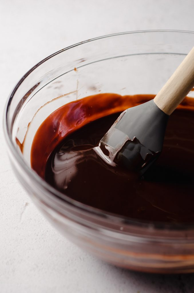 melted chocolate in a glass bowl