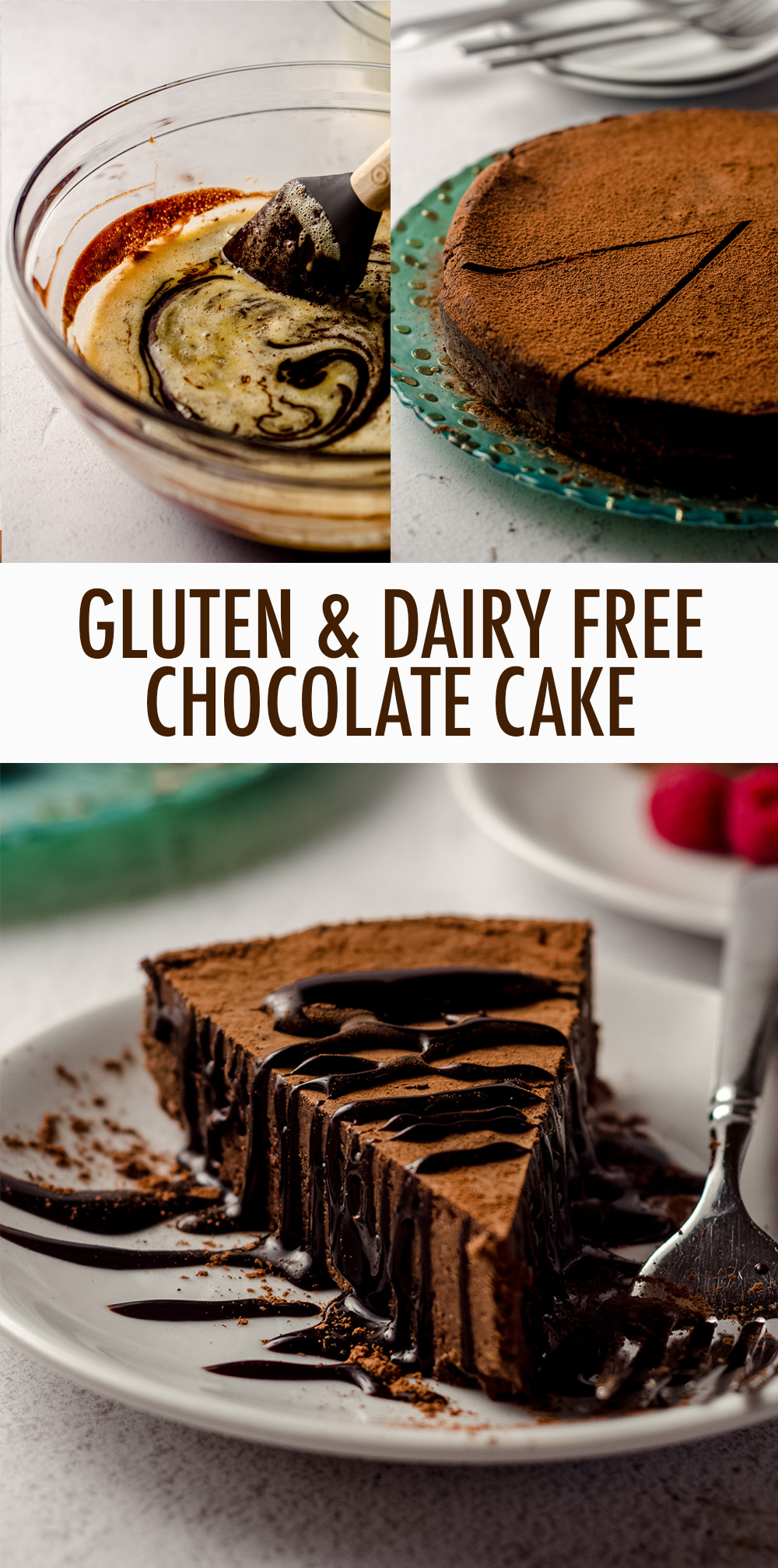 You only need 3 ingredients for this dense and fudgy gluten and dairy free chocolate cake. A perfectly blank canvas for any toppings or frosting you desire!