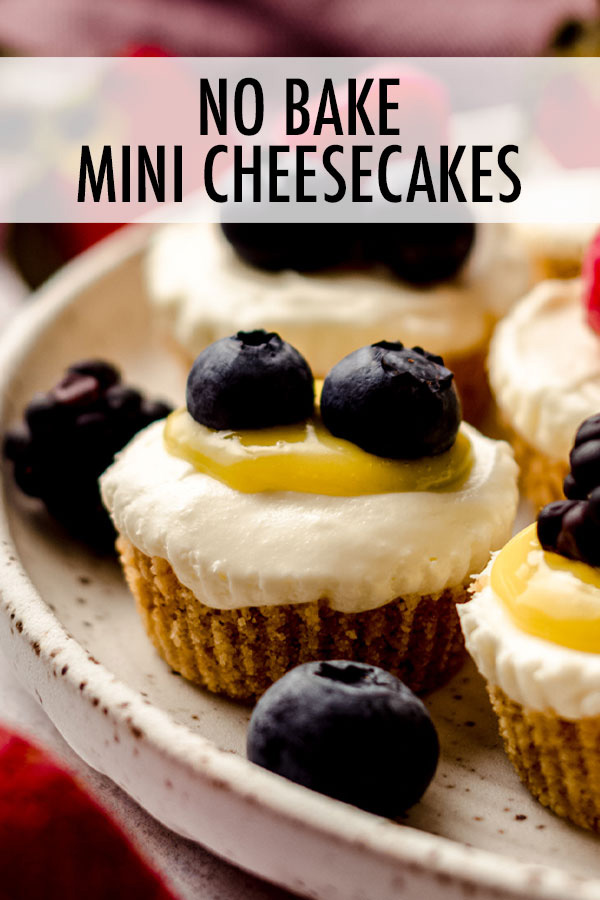 These no bake mini cheesecake bites with crunchy graham cracker crusts are perfect for when you don't want to turn on the oven or just want to whip up quick bites of cheesecake for individual servings. Top with your favorite sauces, curds, jams, fruits, or whipped cream.