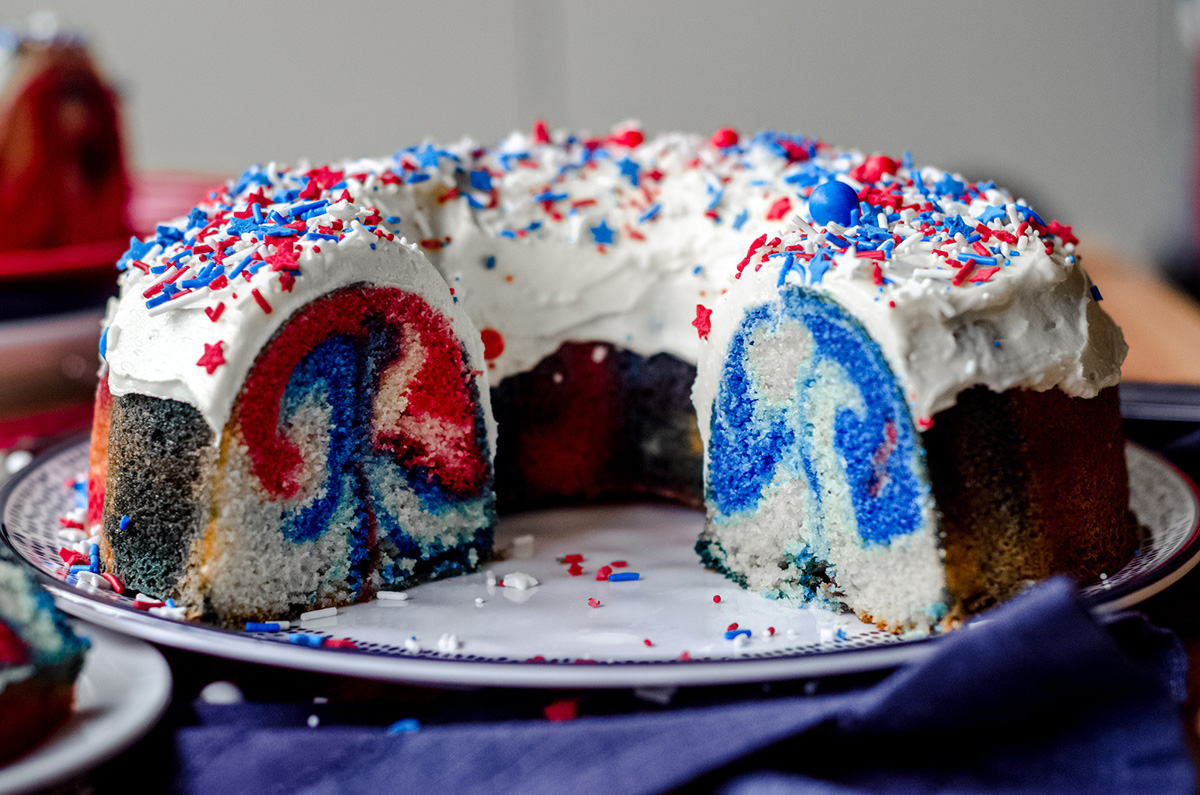 cross section of red white and blue swirl cake