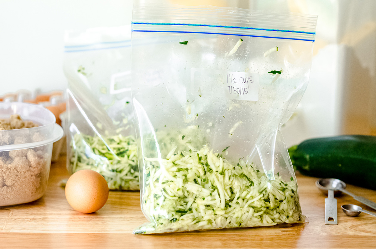 shredded zucchini in a bag ready to freeze