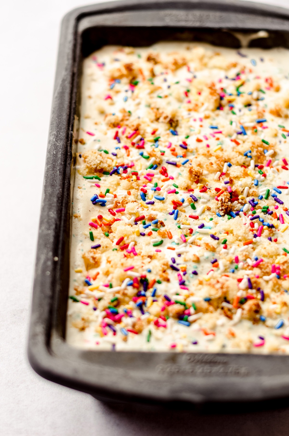 birthday cake ice cream in a loaf pan
