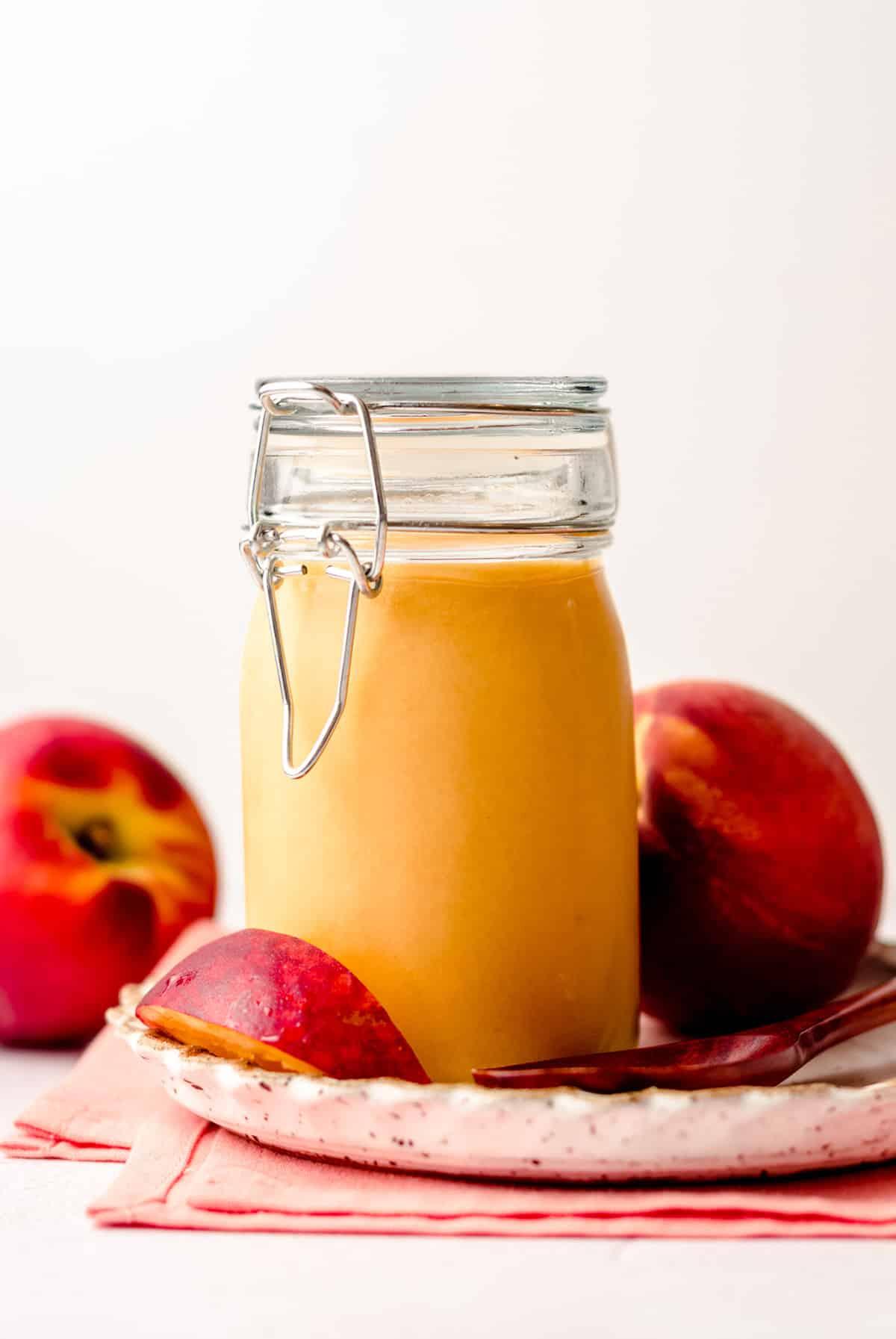jar of peach curd