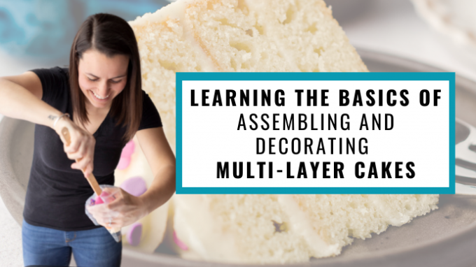 cover photo for skillshare video about learning the basics of assembling and decorating a multi-layer cake